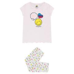 Pyjama en jersey avec print ©Smiley et coeur pailleté