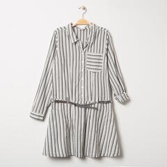 Junior - Robe manches longues à rayures verticales et ceinture pailletée