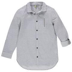 Junior - Chemise manches longues rayée avec poche fantaisie