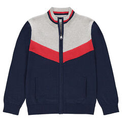 Junior - Gilet en tricot avec bande contrastée style vintage