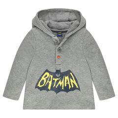 Tee-shirt manches longues à capuche avec print BATMAN