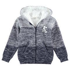 Junior - Gilet à capuche en tricot twisté effet dégradé doublé sherpa