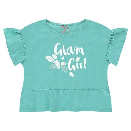 Tee-shirt court en jersey volanté avec inscription printée
