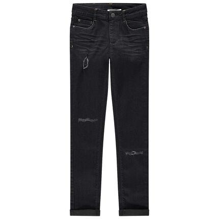 Junior - Jean skinny effet used et crinkle troué