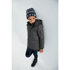 Parka chinée doublée sherpa avec capuche amovible et poches