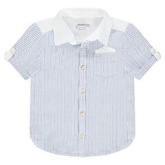 Chemise manches courtes en coton fantaisie avec poche