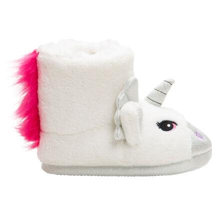 """Chaussons """"licorne"""" forme bottes avec crinière rose"""