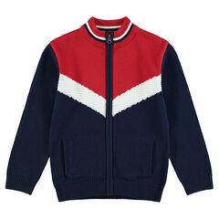Junior - Gilet en tricot zippé avec larges bandes en jacquard style vintage