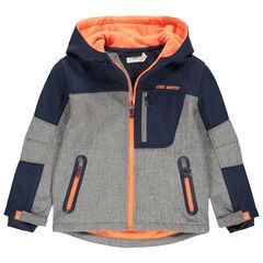 Coupe-vent doublé polaire à poches zippées et touches de orange