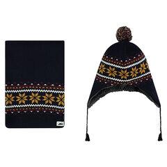 Ensemble bonnet et écharpe en tricot à motif jacquard doublés sherpa
