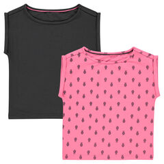 Lot de 2 tee-shirts manches courtes forme boîte uni/imprimé
