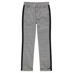 Junior - Pantalon à carreaux Prince de Galles avec bandes contrastées