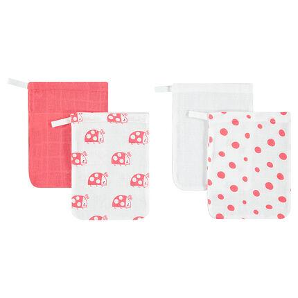 Set de 4 gants de toilette en gaze de coton