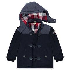 Duffle coat en drap de laine doublé flanelle avec capuche amovible