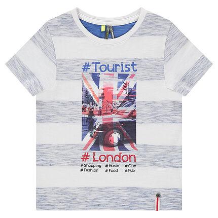 Tee-shirt manches courtes en jersey avec bandes chinées et vue de Londres printée