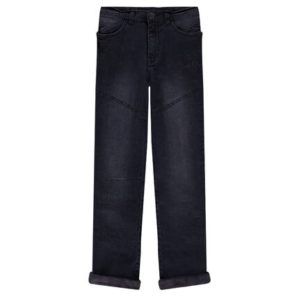 Junior - Jeans effet used doublé flanelle avec poches zippées