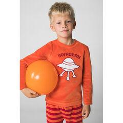 Pyjama en velours avec soucoupe volante brodée