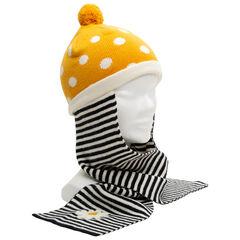 Bonnet écharpe en tricot à pois et rayures en jacquard