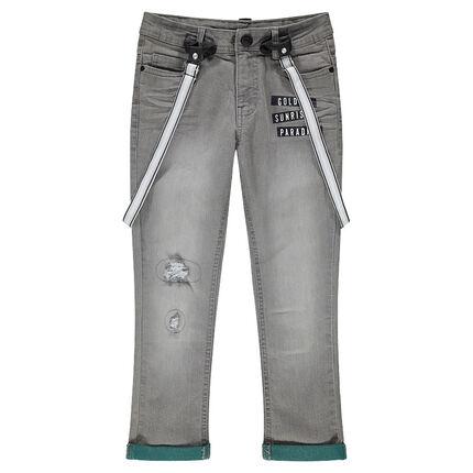 Junior - Jeans effet used et crinkle avec bretelles ajustables amovibles