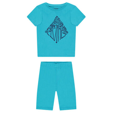 Pyjama court en jersey avec print fantaisie