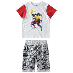 Ensemble avec t-shirt print Marvel Superman et bermuda imprimé logo all-over