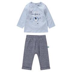 Ensemble avec t-shirt print éléphant et pantalon chiné