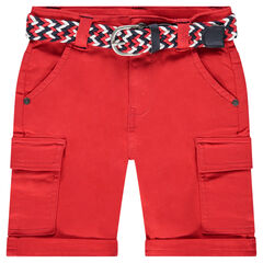 Bermuda rouge en coton avec ceinture tressée amovible