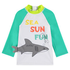 Tee-shirt de bain anti-UV avec requin et message printés