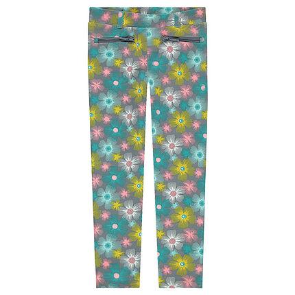 Jegging en milano imprimé fleurs colorées all-over avec poches zippées