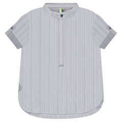 Chemise manches courtes rayées avec col mao