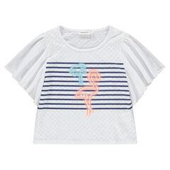 Junior - Tee-shirt à manches courtes volantées print flamant rose