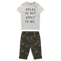 Tee-shirt manches courtes rayé avec bermuda en molleton motif army