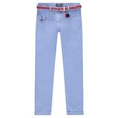 Pantalon en twill avec ceinture motif ikat amovible