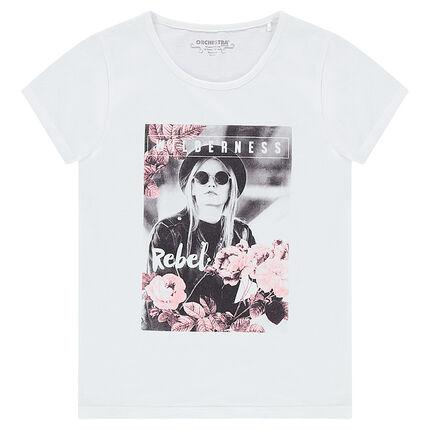 Junior - Tee-shirt manches courtes avec photo print fantaisie sur le devant