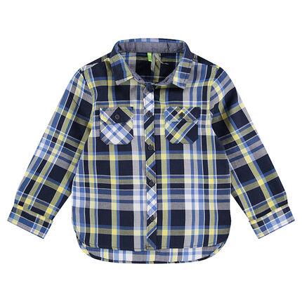 Chemise manches longues à carreaux contrastés bleu / anis et poches