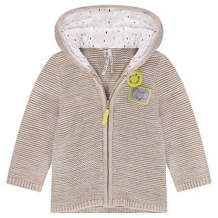 Gilet à capuche en tricot avec badges animaux patchés
