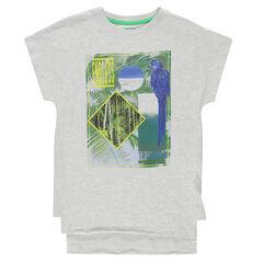 Junior - Tee-shirt long manches courtes avec print fantaisie et oiseau