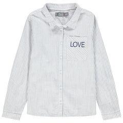 Chemise manches longues à rayures avec inscription brodée