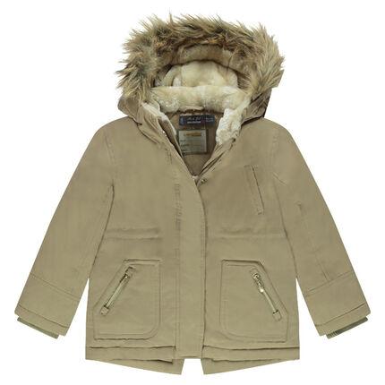 Junior - Parka longue déperlante doublée sherpa à capuche et fausse fourrure