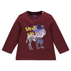 Tee-shirt en jersey manches longues unis avec print fantaisie