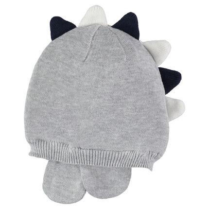 Bonnet en tricot gris chiné avec crête en relief