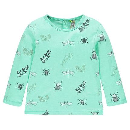 Tee-shirt manches longues en jersey avec insectes imprimés all-over