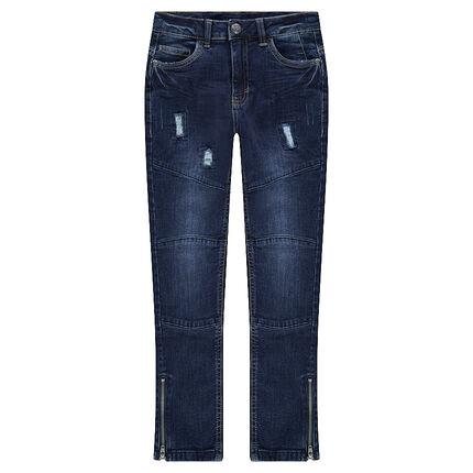 Junior - Jeans effet used et crinkle avec découpes et déchirures