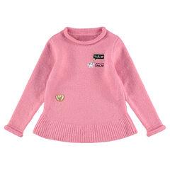 Pull en tricot doux forme évasée avec motifs fantaisie