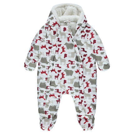 Combi-pilote doublée sherpa motif animaux all-over
