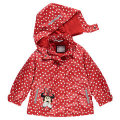 Parka imperméable à pois à capuche amovible Disney Minnie