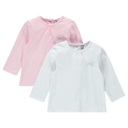 Lot de 2 tee-shirts manches longues unis avec print noeud argenté
