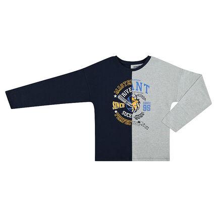 Junior - Tee-shirt manches longues bicolore avec motif fantaisie
