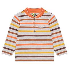 Polo manches longues en jersey rayé avec col esprit teddy