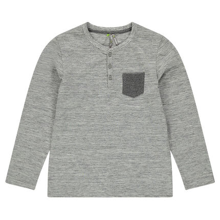 Junior - Tee-shirt manches longues en jersey slub avec poche